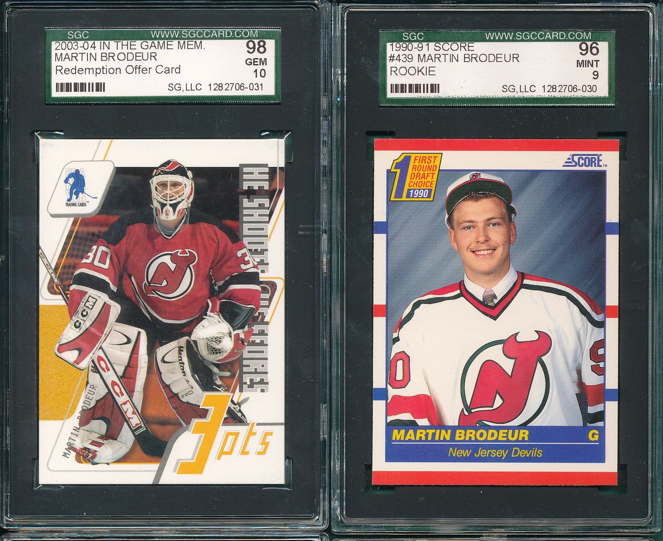 Lot Detail 1990 91 Score 439 Martin Brodeur Rookie Sgc 96 Plus