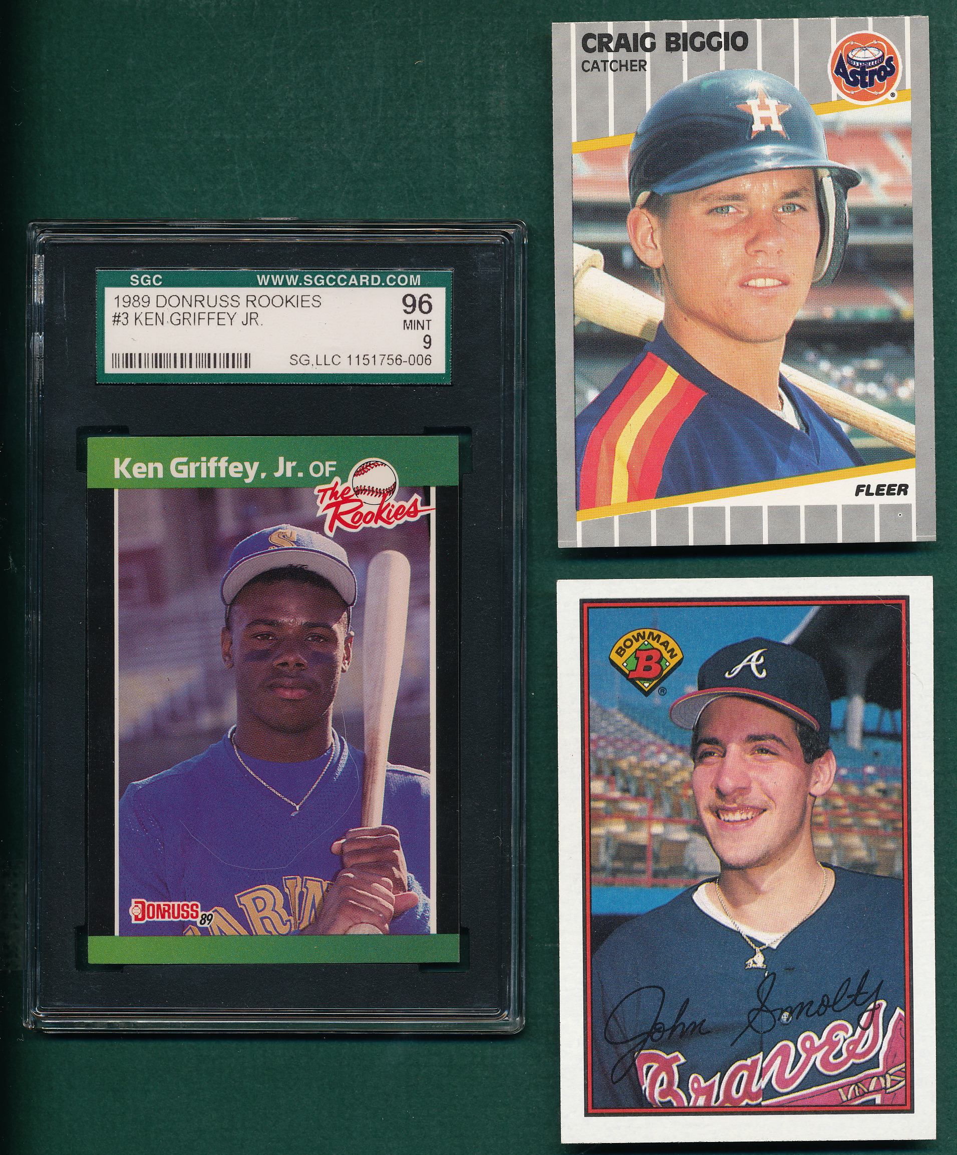 Lot Of 5 Rookie Baseball Cards With Ken Griffey Jr 1989: 1989 Lot Of (36) Rookies Of Smoltz, Biggio
