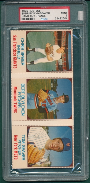 1975 Hostess Panel Speier/Blyleven/Seaver, PSA 9 *MINT*