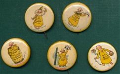 1890s Yellow Kid Pinbacks High Admiral Cigarettes Lot of (5)
