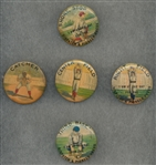 1890s Baseball Position Pinbacks, Lot of (5)
