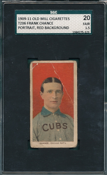 1909-1911 T206 Chance, Red Portrait, Old Mill Cigarettes SGC 20