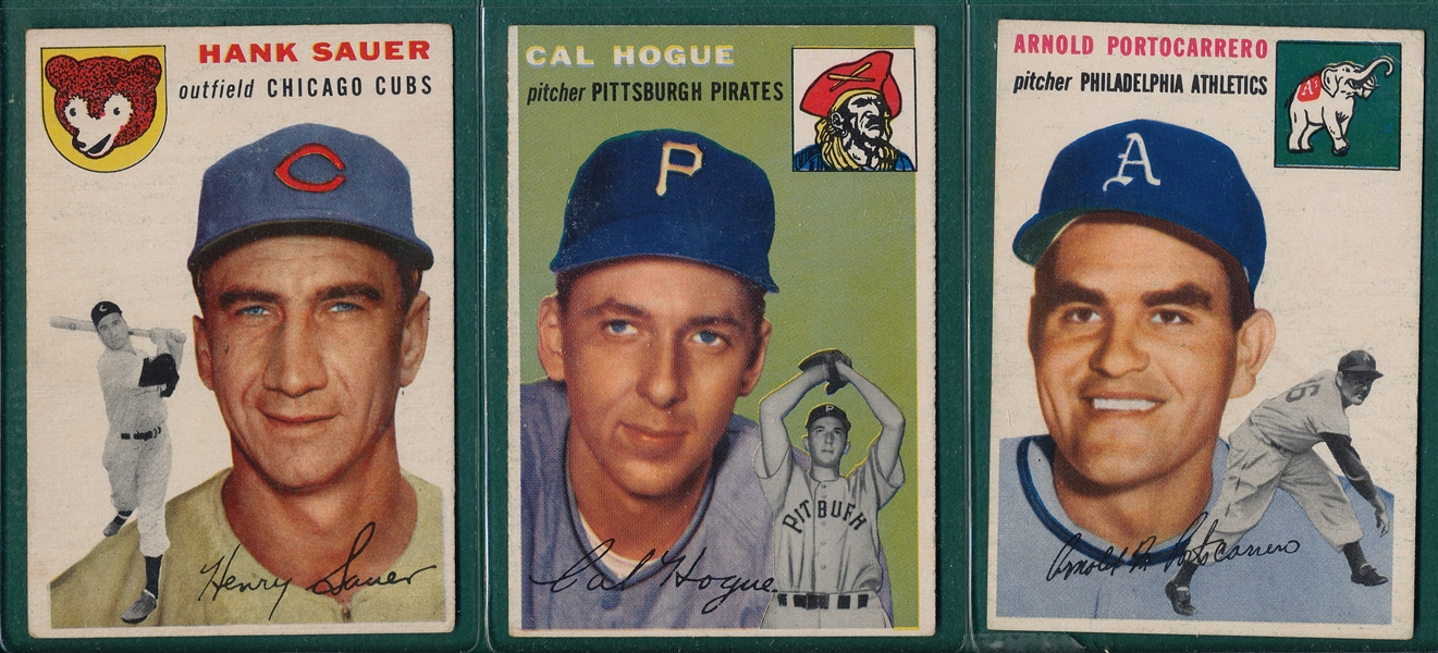 1954 Topps Lot of (7) W/ #4 Sauer