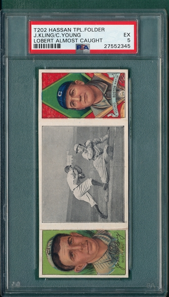 1912 T202 Lobert Almost Caught, Kling/ Cy Young, Hassan Cigarettes, PSA 5