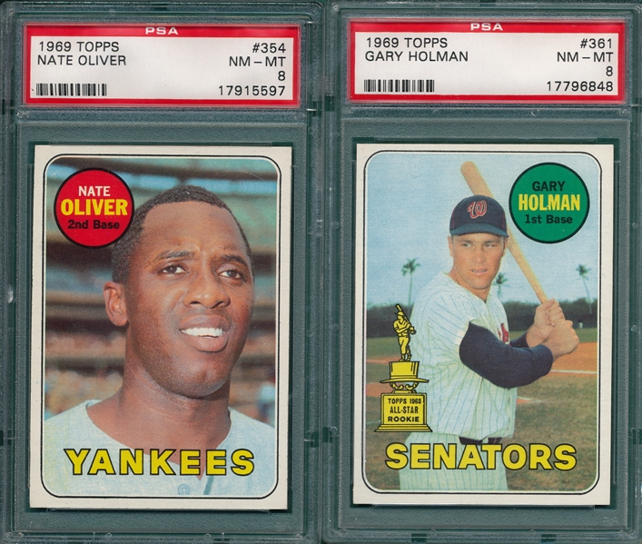 1969 Topps Lot of (6) W/ #354 Oliver, PSA 8
