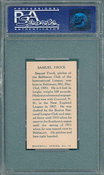 1912 C46 #13 Samuel Frock PSA 8 *Highest Graded (1/1)*