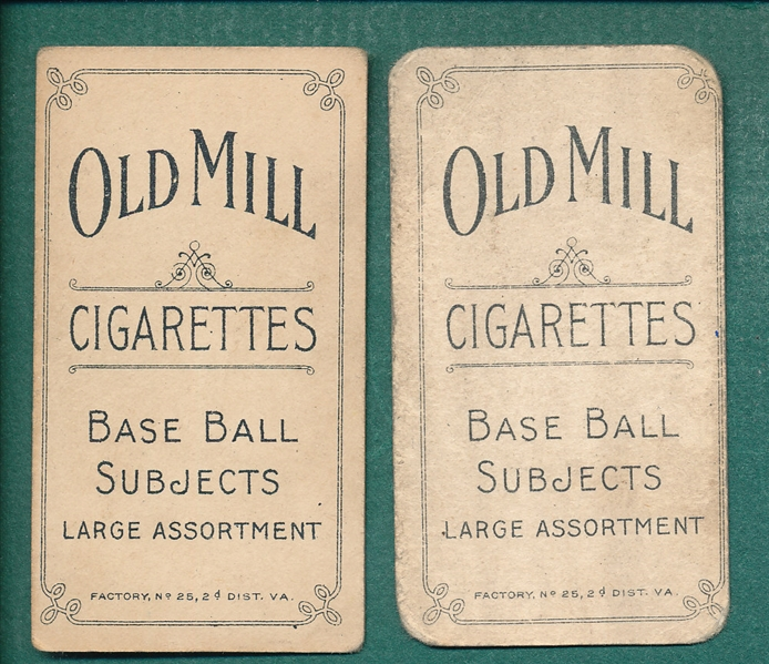 1909-1911 T206 Bates and Bowerman, Lot of (2) Old Mill Cigarettes