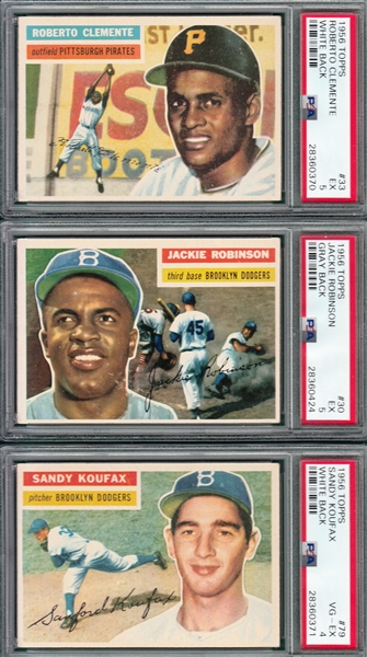 1956 Topps Baseball Complete Set (340) Plus (2) Checklists W/ Mantle PSA 5