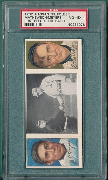 1912 T202 Just Before the Battle Meyers/Mathewson Hassan Cigarettes PSA 4
