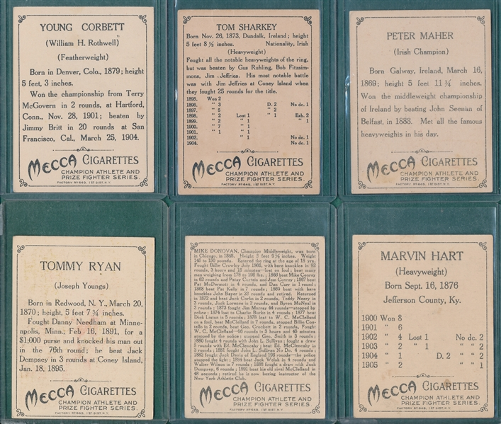 1910 T220 Champion Athlete & Prize Fighter Series, Lot of (6)