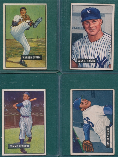 1951 Bowman Newcombe, Jensen, Henrich & Spahn, Lot of (4)