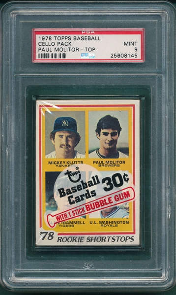 1978 Topps Cello Pack W/ #707 Molitor/ Trammell, Rookie, PSA 9