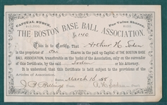 1888 Boston Base Ball Association Stock Certificate