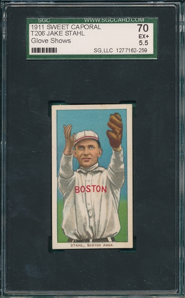 1909-1911 T206 Stahl, Glove Showing, Sweet Caporal Cigarettes SGC 70