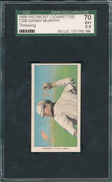 1909-1911 T206 Murphy, Throwing, Piedmont Cigarettes SGC 70