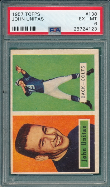 1957 Topps FB #138 Johnny Unitas PSA 6 *Rookie*
