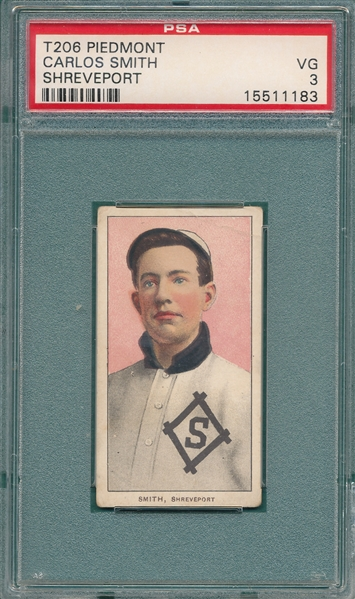 1909-1911 T206 Smith, Carlos, Piedmont Cigarettes PSA 3 *Southern League*