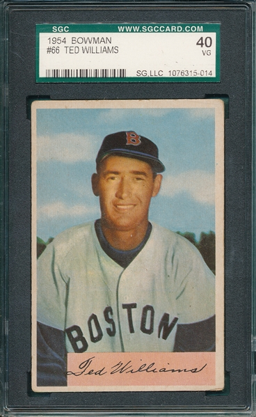 1954 Bowman #66 Ted Williams SGC 40 *SP*