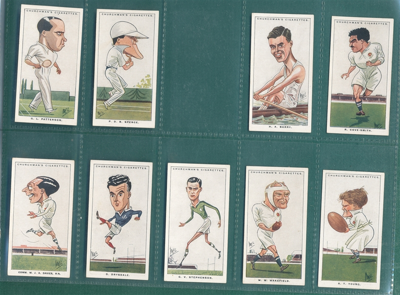 1928 Churchman's Men Of The Moment Partial Set (44/50) W/ Tunney & Dempsey