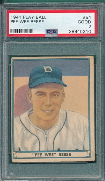 1941 Play Ball #54 Pee Wee Reese PSA 2 *Rookie*