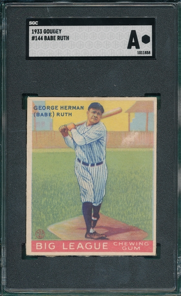 1933 Goudey #144 Babe Ruth SGC Authentic