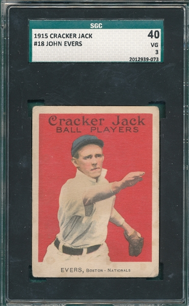 1915 Cracker Jack #18 Johnny Evers SGC 40