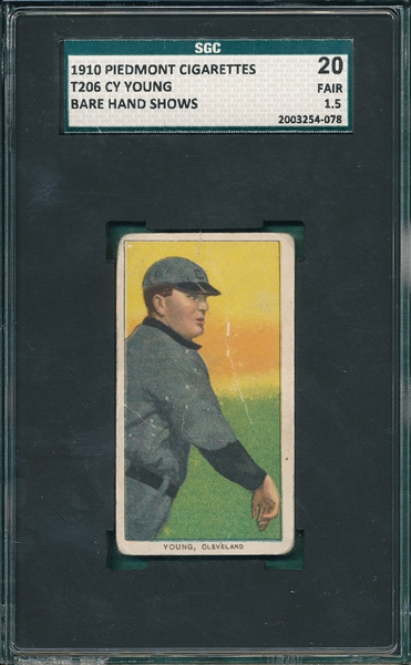 1909-1911 T206 Cy Young, Bare hand, Piedmont Cigarettes SGC 20