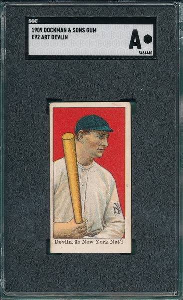 1909 E92 Art Devlin Dockman & Sons SGC Authentic