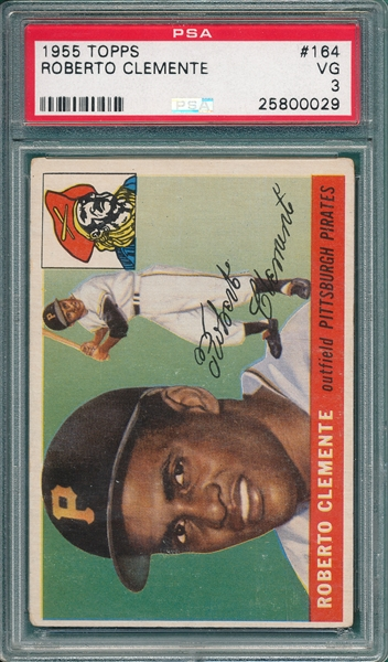 1955 Topps #164 Roberto Clemente PSA 3 *Rookie*