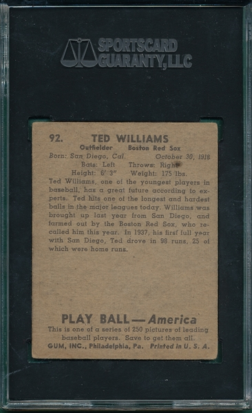 1939 Play Ball #92 Ted Williams SGC 3 *Rookie*