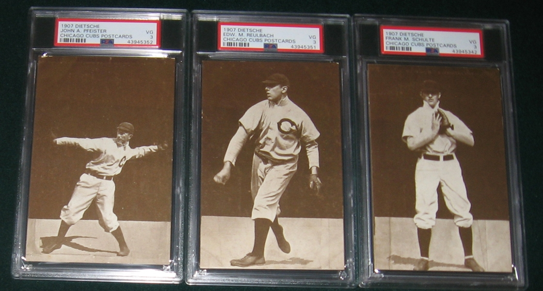 1907 Dietsche Post Cards, Chicago Cubs Complete Set (15) PSA