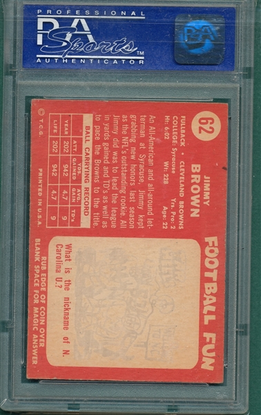 1958 Topps #62 Jimmy Brown PSA 5 *Rookie*