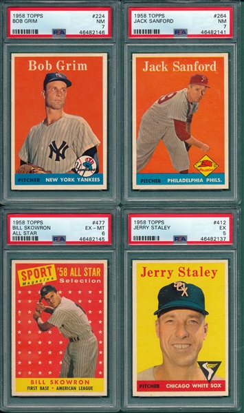 1958 Topps Lot of (4) W/ #224 Grim PSA 7