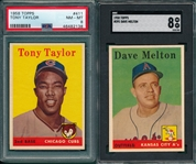 1958 Topps #391 Helton SGC 8 & #411 Taylor PSA 8, Lot of (2)