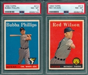 1958 Topps #212 Phillips & #213 Wilson, Lot of (2) PSA 8
