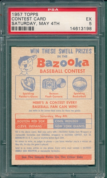1957 Topps Contest Card Saturday, May 4th, PSA 5