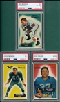 1955 Bowman FB #1 Walker, #37 Groza & #158 Bednarik, Lot of (3) PSA