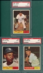1961 Topps #19 Boyer, #28 Lopez & #40 Turley, Lot of (3) PSA 7