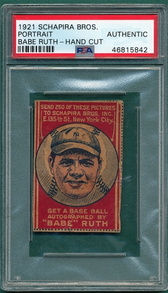 1921 Schapira Bros. Candy Babe Ruth, Portrait, PSA Authentic