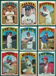1972 Topps Lot of (9) W/ Aaron, Clemente & Mays