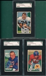1951 Bowman FB #50 Bray, #57 Baker & #110 Adamle, Lot of (3) SGC 84