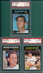 1971 Topps #353 Taylor, #375 Hargan & #526 Jarvis, Lot of (3) PSA 8
