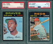 1971 Topps #100 Rose & #400 Aaron, Lot of (2) PSA