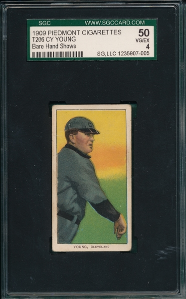 1909-1911 T206 Cy Young, Bare Hand, Piedmont Cigarettes SGC 50